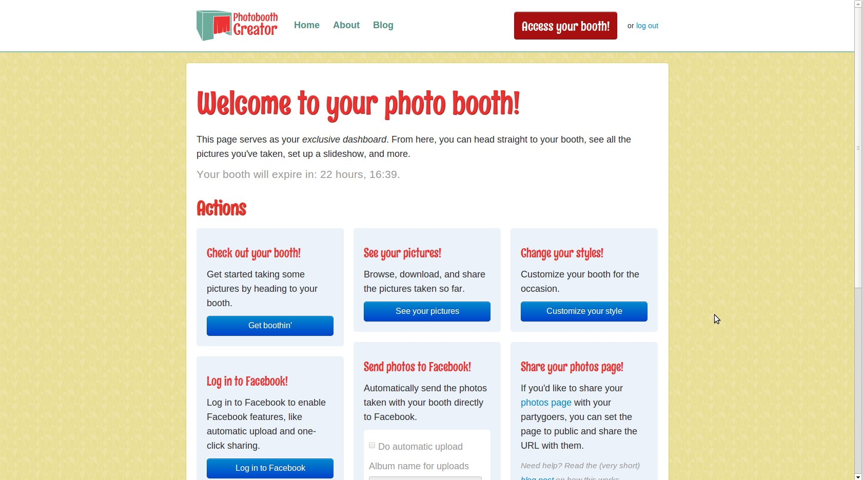 Booth admin page