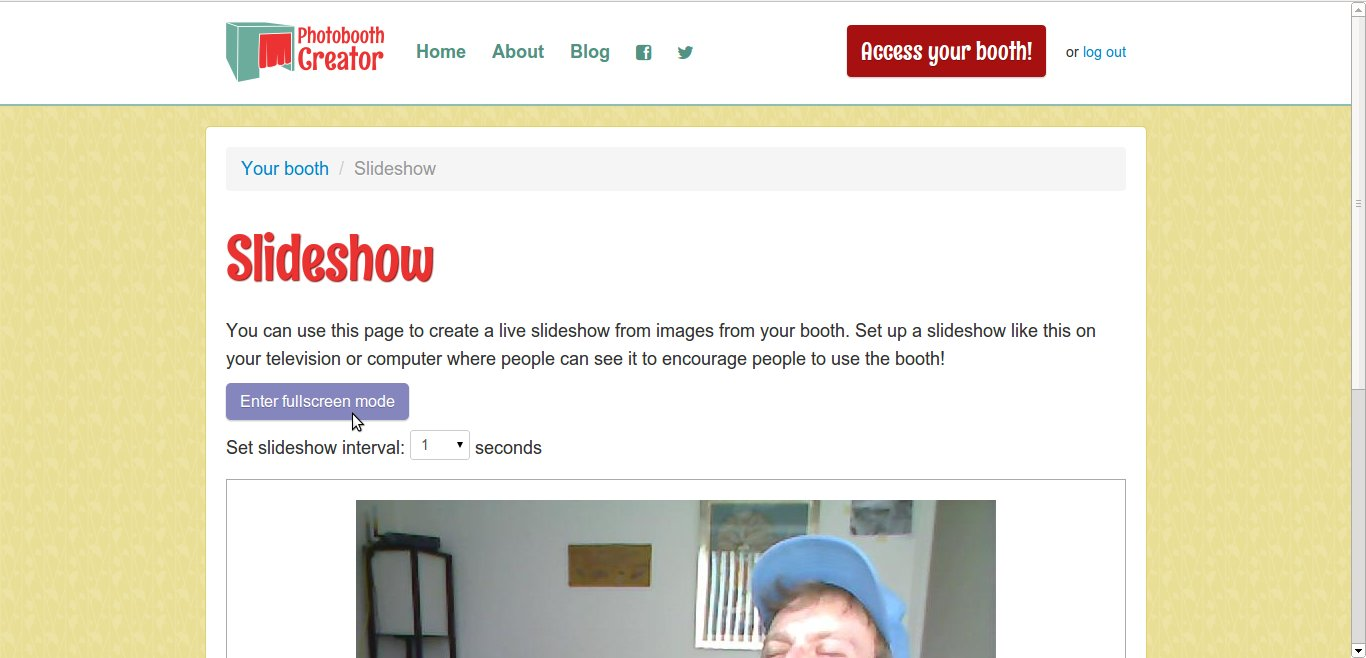 Slideshow page for Photobooth Creator